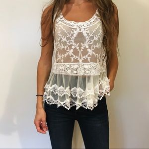 Express Lace Flowy See Through Top